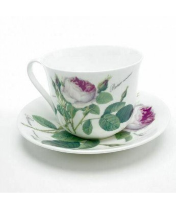Chatsworth Teacup and Saucer Redouté Rose Roy Kirkham