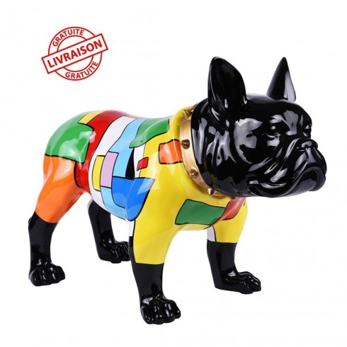 Statue Bouledogue multicolore Square