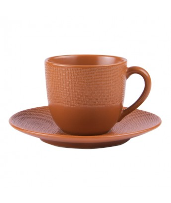 Table Passion - Lot de 6 tasses à café avec soucoupe en grès terra collection Vesuvio