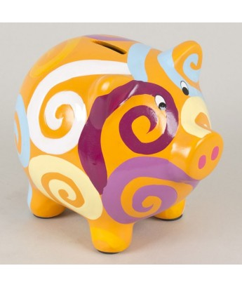 Tirelire cochon orange 15cm
