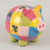 Tirelire cochon multicolore 24cm
