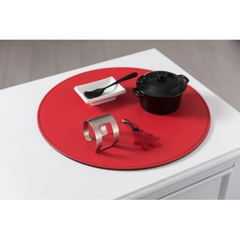 Set de table rond freeform r versible rouge et noir ma for Set de table rouge rond